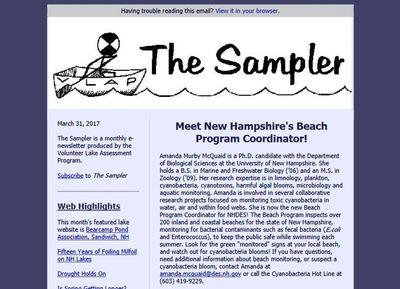 NH DES Water Sampling Program Monthly Newsletter - link to back issues