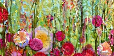 Epoxy resin Sarah Moffat Art flowers metallic foil holographic red poppies