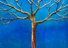 Holographic turquoise background, bronze and gold tree