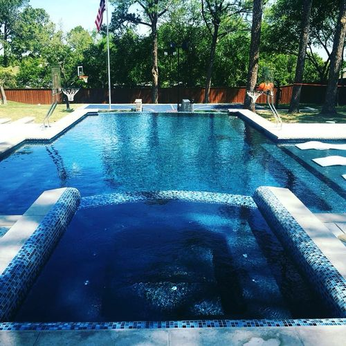 Luxury Pool & Spa, Vanishing Edge, Rolled Spa Beam, Glass Tile, LED Bubblers, In Floor Cleaning