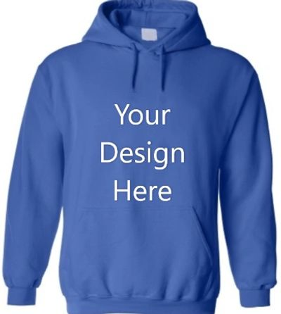 Blue custom printed hoodie. Lucky Dog Tee Shirts, Clintonvillle, custom tee printing, Columbus, OH
