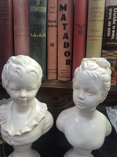 Old books and busts.