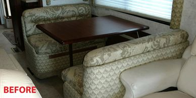 RV DINETTE BEFORE REUPHOLSTERED IN UPDATED FABRIC.