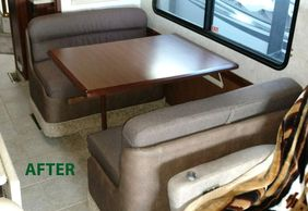 RV DINETTE AFTER REUPOLSTERED IN UPGRADED FABRICS.