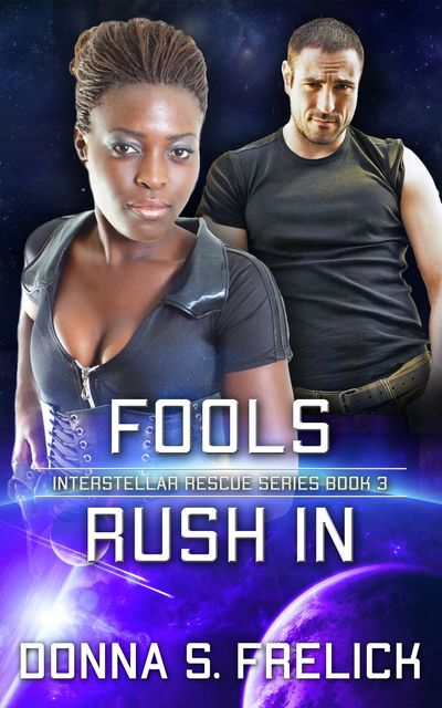 Fools Rush In cover with Black woman in front, man in back. Dark color with bright blue highlights