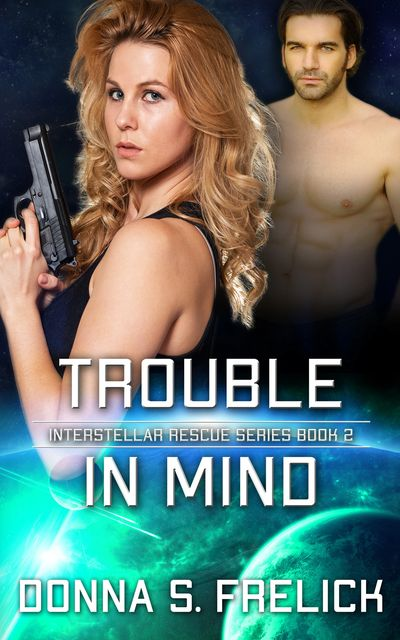 Trouble in Mind cover with  woman with gun in front, man in back. Dark color with green highlights.