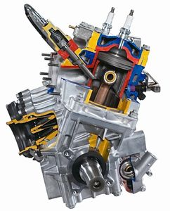 Gasoline direct injected engine cutaway
