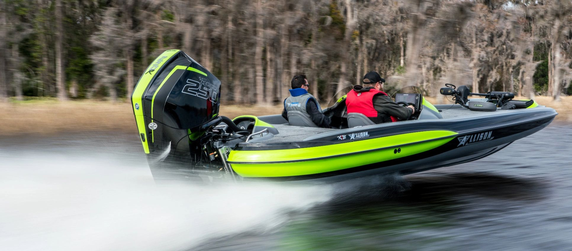 Allison bass boat with mercury racing 250r lime green