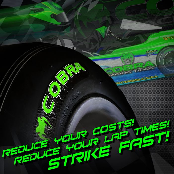 Cobra Racing Tires. Reduce your costs, reduce your lap times. Strike Fast!