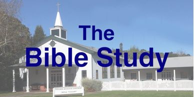 "New England style church with text, ""The Bible Study"""