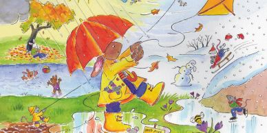 A bunny holds a kite in the rain. The background depicts the four seasons, mice play in each season.