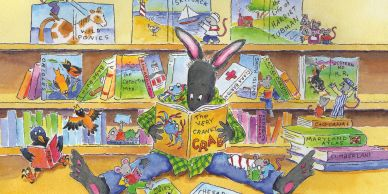 Bunny reads a book in a library. Mice act out famous books while birds look on.