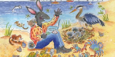 Bunny at the beach with other animals, reading