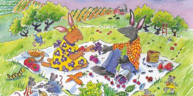 Two bunnies picnic and share their meal with ants and mice.