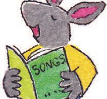 Mouse with a song book; mouse is singing.
