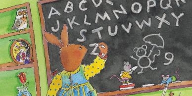 A bunny in school, writing the alphabet on a chalkboard.