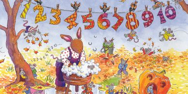 A bunny washing clothes. Numbers hang from a clothes line. It's fall. Animals playing in leaves.