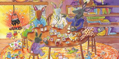 A family of bunnies sit around a table and play card games. Mice are playing games on the floor.