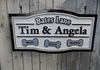 Routed and hand carved. Painted double sided sign for your home.