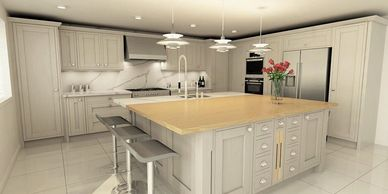 Bagshots virtual image of proposed kitchen design for customer.
