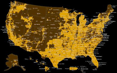 H2O Coverage Map, AT&T network coverage map, coverage map
