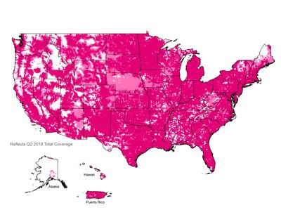 T-Mobile coverage map, 4G LTE network, Simple Mobile Coverage Map.