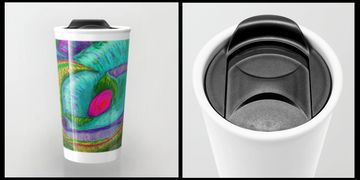 ceramic travel mugs,travel mugs,travel containers,two piece travel mug,sliding top travel mug,secure