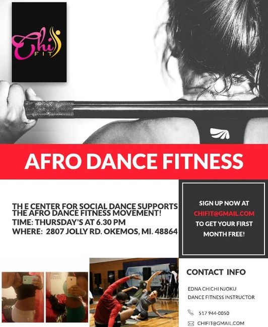 Every Thursay evening in Okemos MI, Chi Fit will host a $5 Afro Dance Fitness class with DJ Rex!