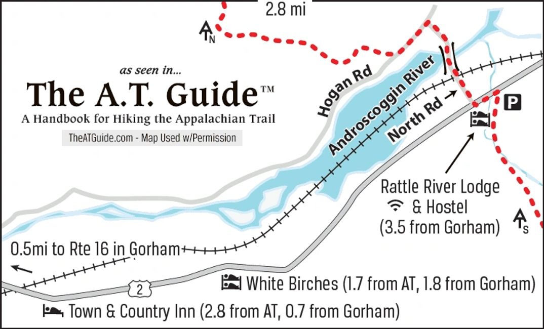Location of the Rattle River Hostel on the Appalachian Trail.