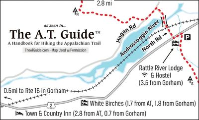 Appalachian Trail Guide map of the intersection in which the Rattle River Hostel is located.