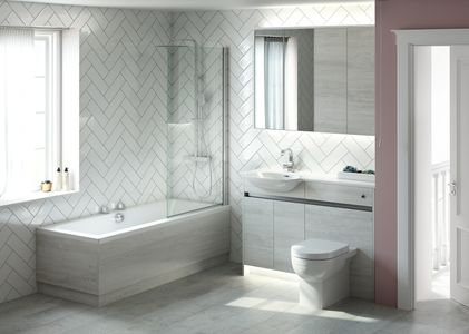 Utopia contemporary fitted bathroom furniture sandwashed white illuminated mirror cabinet