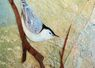 Nuthatch, mixed media bark, canvas, wood/sold