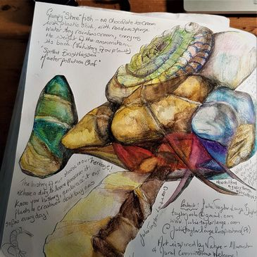 Travelling Sketchbook Essex Summer of Art - stone fish aquarelle drawing