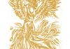 Golden Phoenix Original Lino Print Limited edition of 25