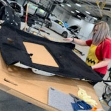 Jaymee Godinez recovering her 2007 Honda Civic SI Coupe with sunroof headliner board in Black Stret