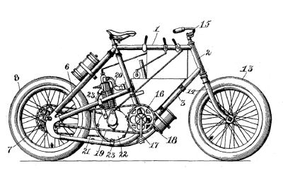 First Motorcycle Patent Drawing