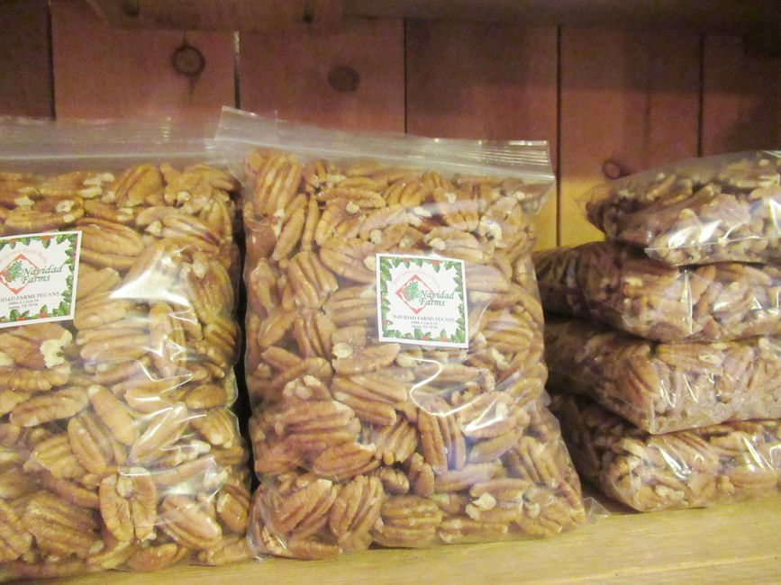 Fresh pawnee pecans on our shelf!  Shown here are (2) Lb.bags.