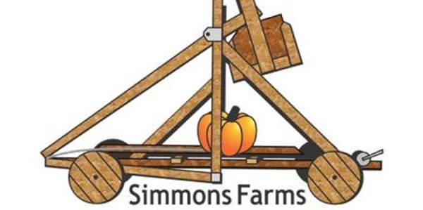 Our Simmons Farms logo. Pumpkin on a trebuchet.