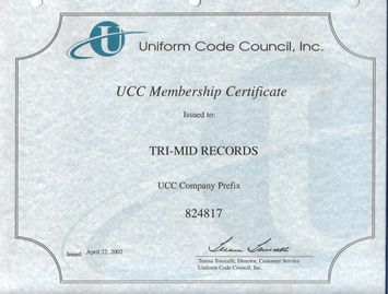 TRI-MID RECORDS MASTER BARCODE CERTIFICATE