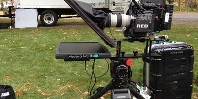 Teleprompter mounted on RED camera, for outdoor use