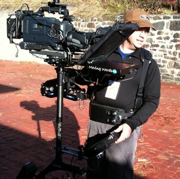 Teleprompter mounted on a steadicam, near Lake PLacid, NY
