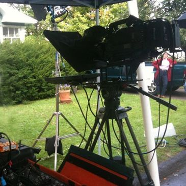 Teleprompter used outdoors in Oswego, NY