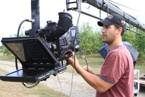 Teleprompter rigged on a jib, outside, near Albany, NY