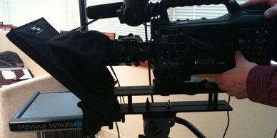 "10"" teleprompter mounted on tripod"