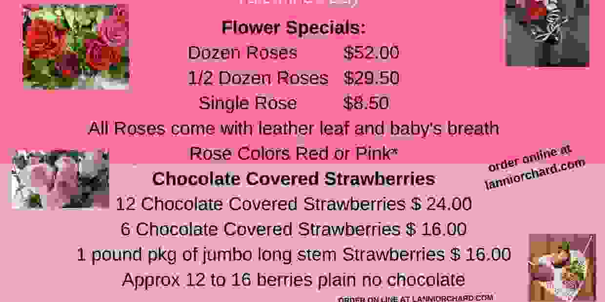 roses, pink, red, wine, chocolate, strawberries, pies, lanni orchard, mixed bouquets, order in advan