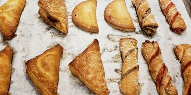 apple turnovers, blueberry turnovers, apple pie pockets (half moon shape), raspberry pie pockets, ci