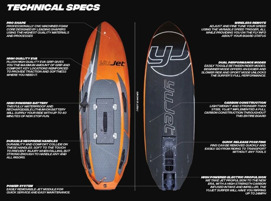 Yujet sales and rentals in florida. best electric surfboard in florida. Buy a jetsurf, foil board.
