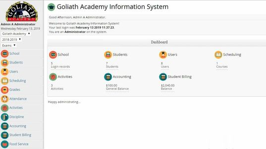 Goliath IT school management system software
