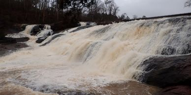 High Falls after heavy rain. High Falls State Park