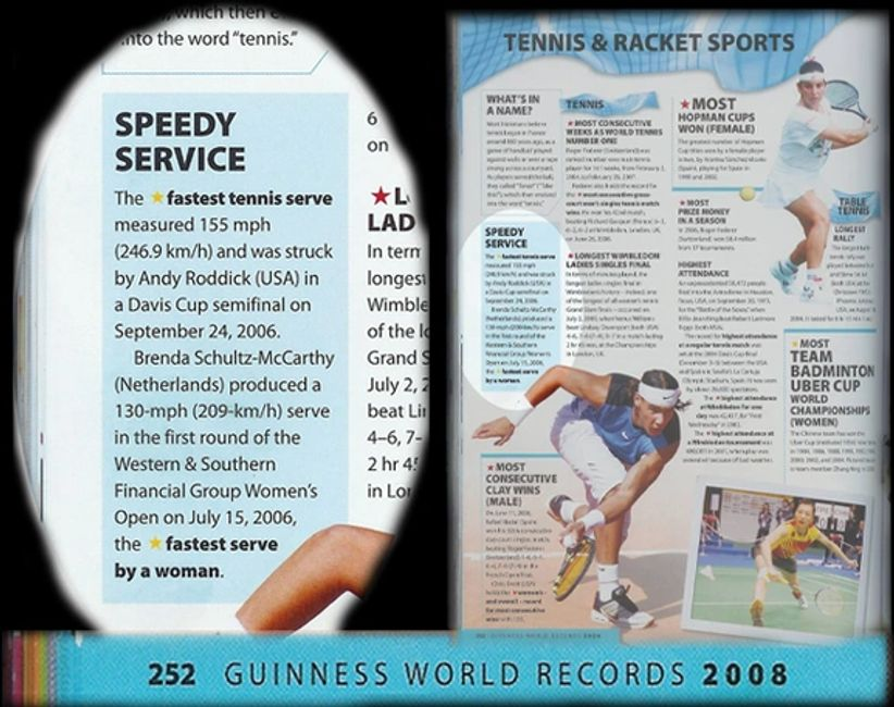Guinness world record for Fastest Tennis Serve